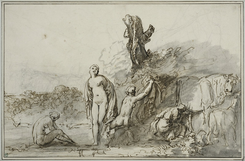 Bathing Nymphs and Cattle
