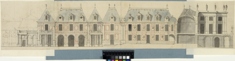 Versailles. Facade elevation of the inner courtfacade of the old château and crosssection through the garden facade with the enveloppe project.