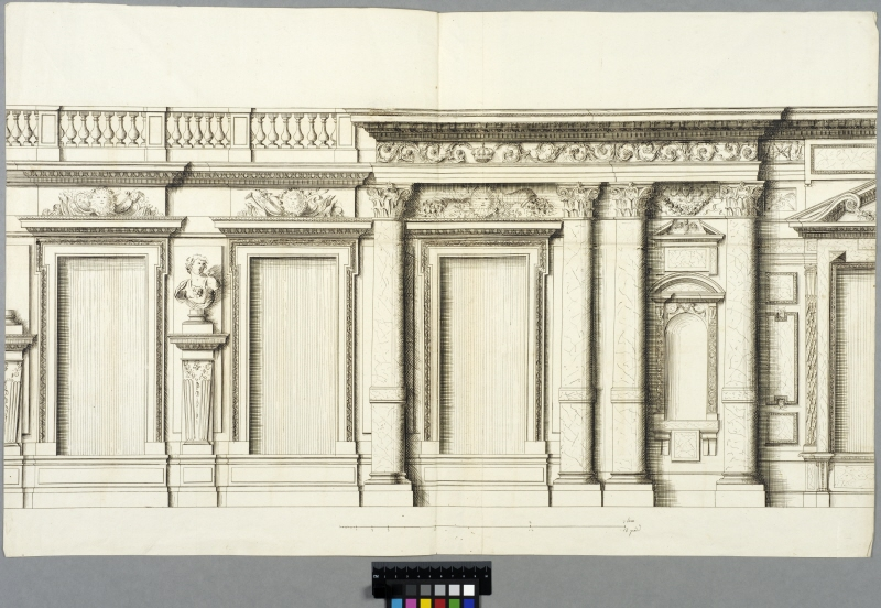 The Tuileries, Paris. Partial elevation of the court facade, second floor
