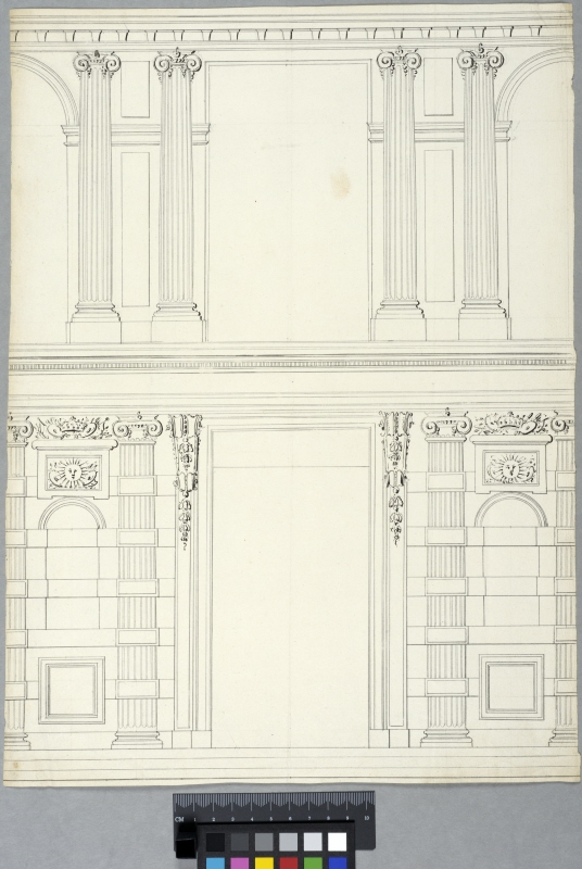 The Tuileries, Paris. Design for court elevation of the portal section of the central pavilion