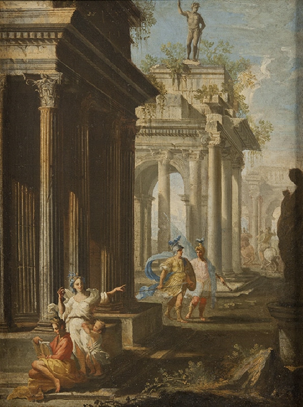 Girl Reading: Corinthian Temple Front, Colonnades Attached to an Arch Cell. Frontal Arch, and Coulisse Statue