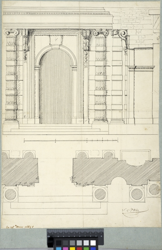 The Tuileries, Paris. Elevation, section and plan of the courtyard entrance