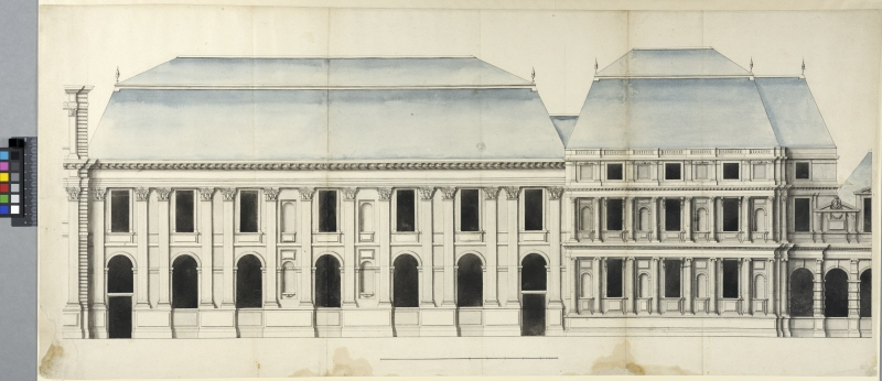 The Tuileries, Paris. Facade elevation of two pavilions to the left of the central pavilion