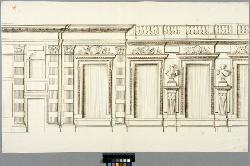 The Tuileries, Paris. Partial elevation of the garden facade, first floor