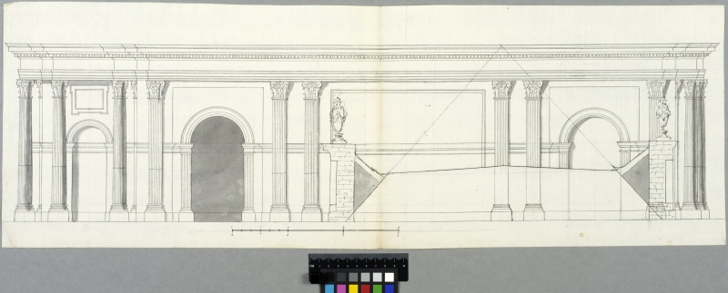 The Tuileries, Paris. Elevation of the southern side of the central pavilion, the floor beneath the attic