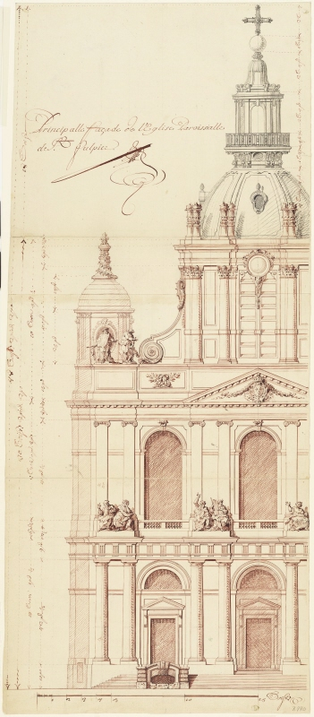 Saint-Sulpice, Paris: elevation of the frontfacade