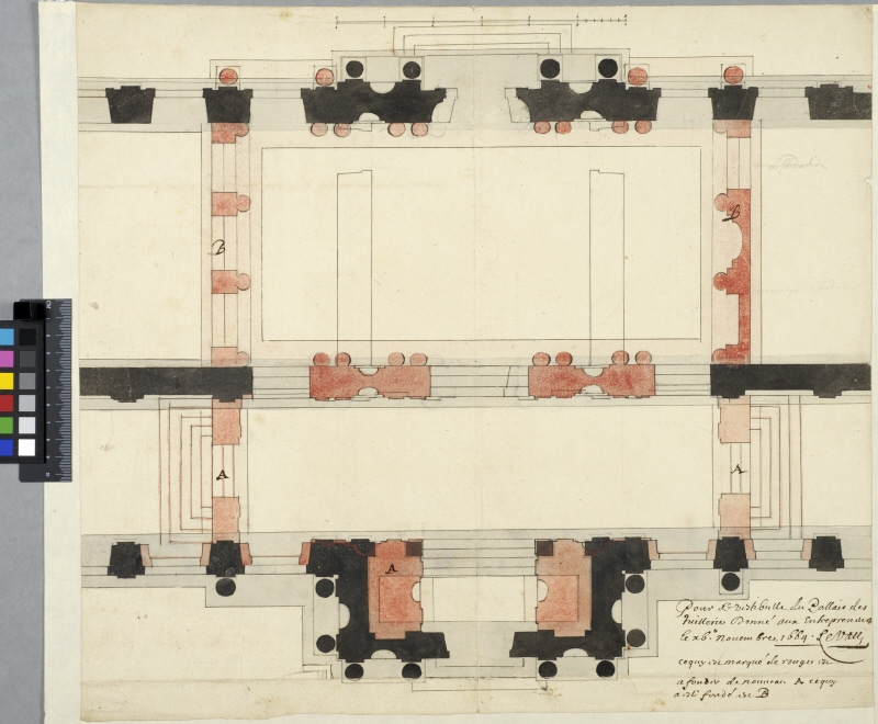 The Tuileries, Paris. Plan for expansion of the central vestibule