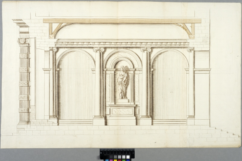 The Tuileries, Paris. Elevation of a lateral wall of the main entrance and section through the tiers and beams